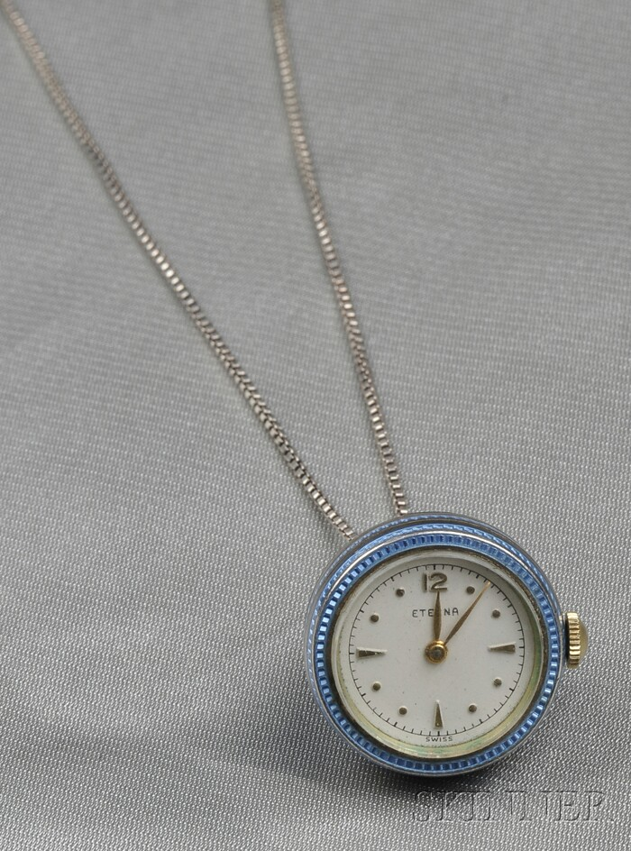 Sterling Silver and Enamel Pendant Watch