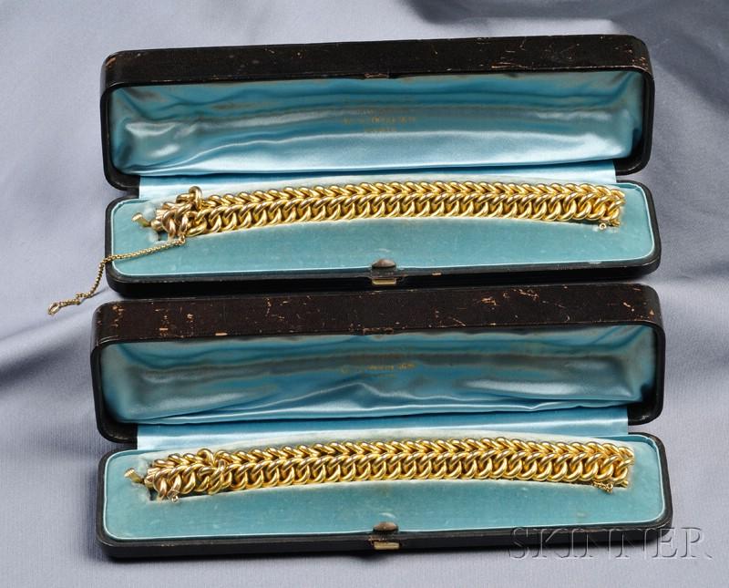Pair of Antique 18kt Gold Bracelets, Tiffany & Co.