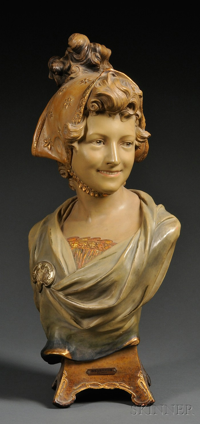 Enamel Decorated Terra Cotta Bust of Belgrade