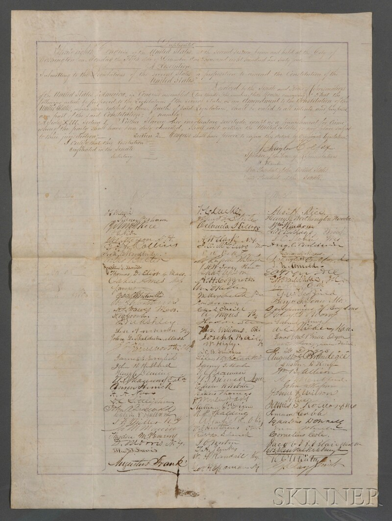 Sold for: $225,150 - (Constitutional Amendment and Slavery), Historically Important Petition Proposing th   e XIII Amendment Abolishing Slavery