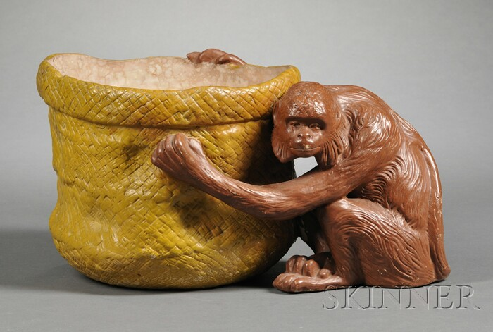 Painted Earthenware Jardiniere with Monkey