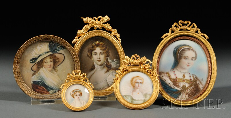 Five Portrait Miniatures of Ladies