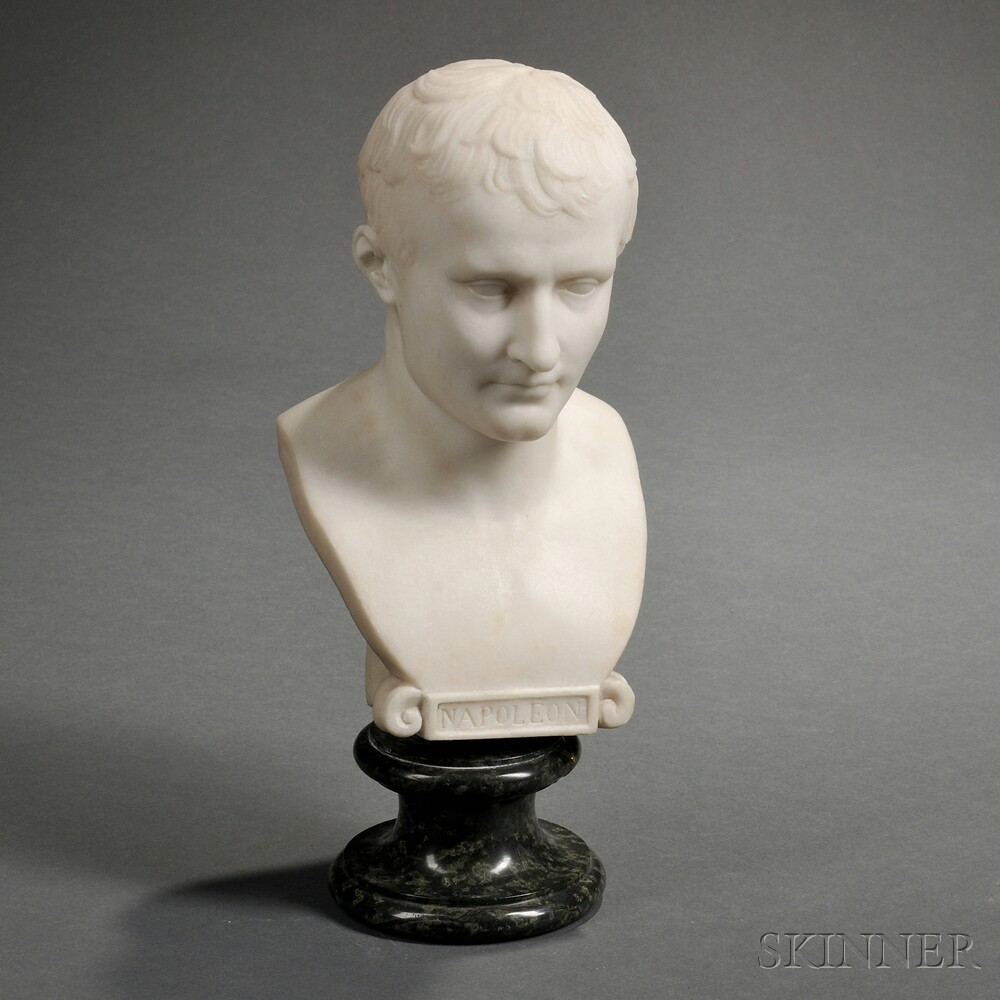 French School, 19th Century Carved White Marble Bust of NapoleonFrench...