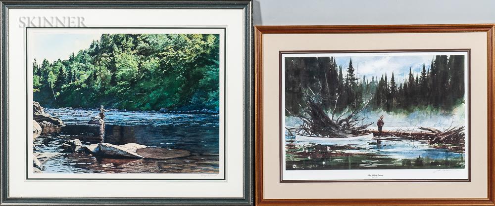 Two Framed Screenprints:      John Swan (American, b. 1948), The White Canoe
