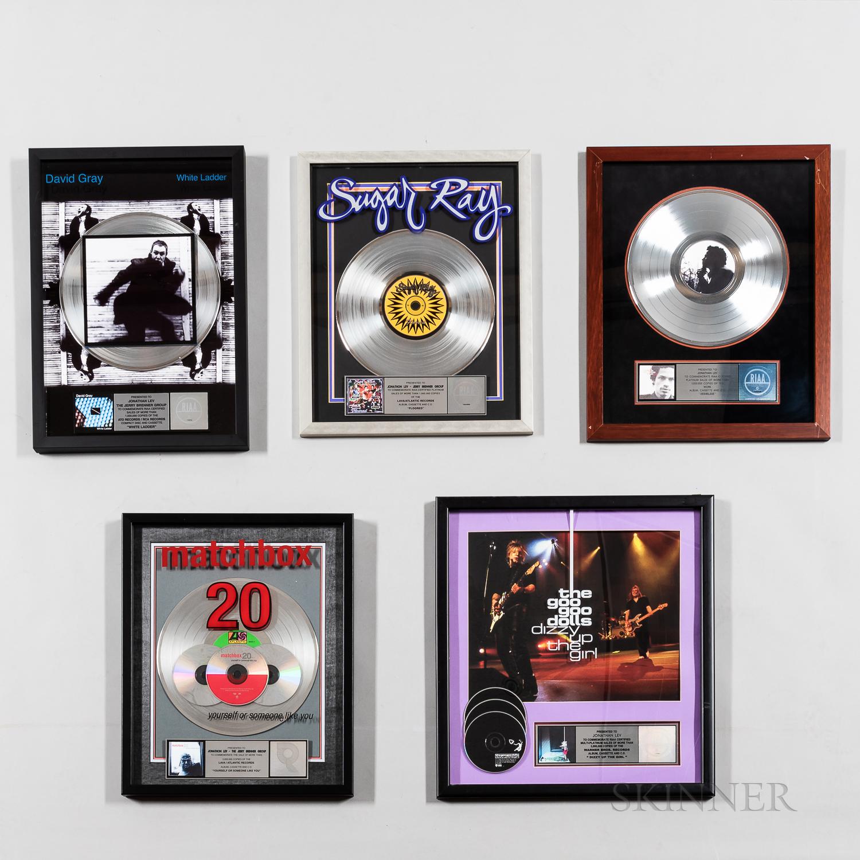 Five RIAA Certified Platinum Record Sales Awards