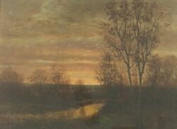 George H. Drew (American, b. circa 1830-after 1860)  Twilight Along the River