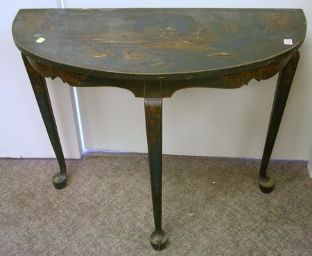 John A. Colby & Sons Queen Anne Style Gilt Decorated Chinoiserie Demilune Table.