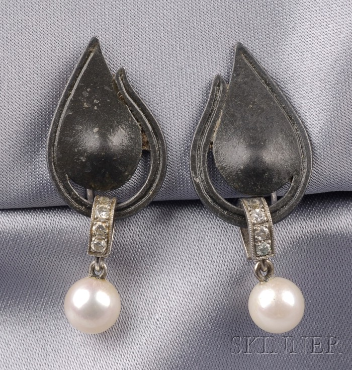 Cultured Pearl and Diamond Earpendants, Attributed to GT Marsh