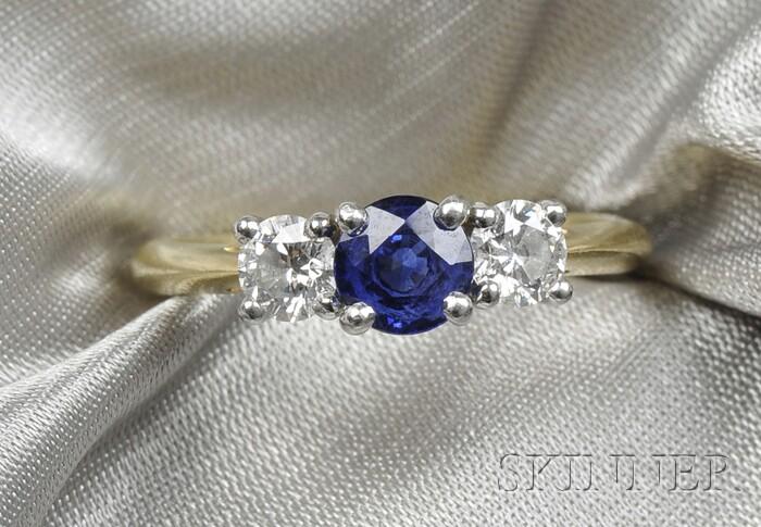 18kt Gold, Platinum, Sapphire, and Diamond Ring, Tiffany & Co.