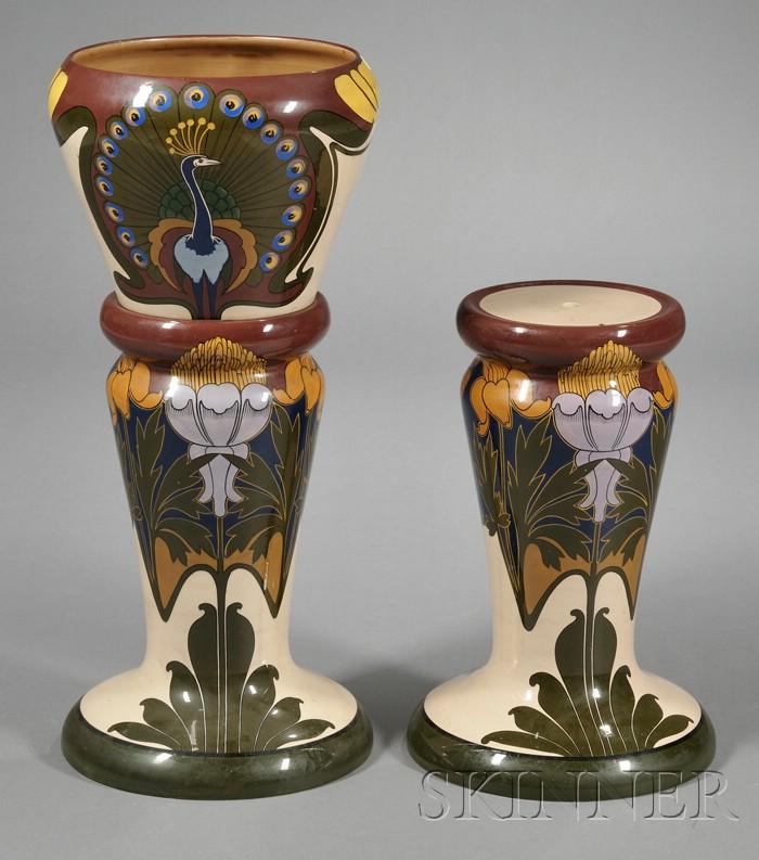 Art Nouveau Jardiniere and Two Pedestals