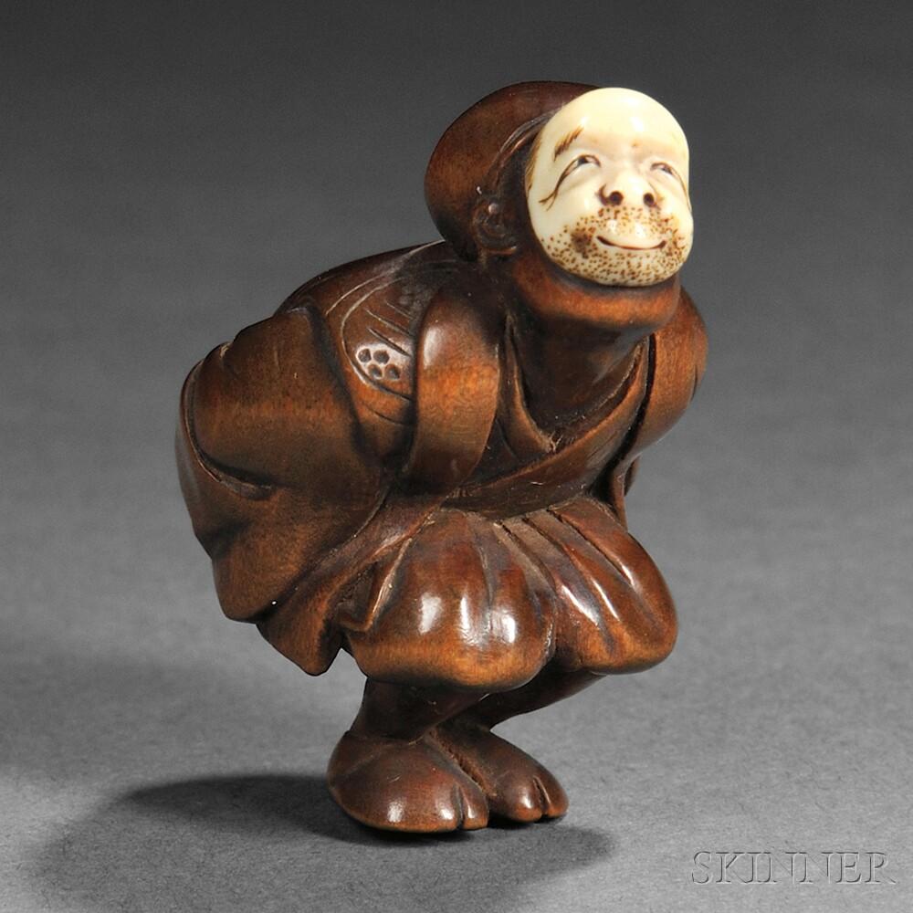 Wood Netsuke of a Noh Actor