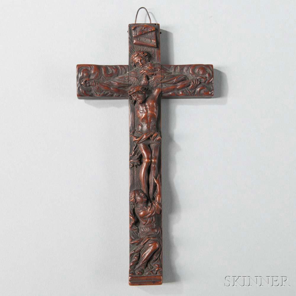 Continental Carved Walnut Reliquary Crucifix