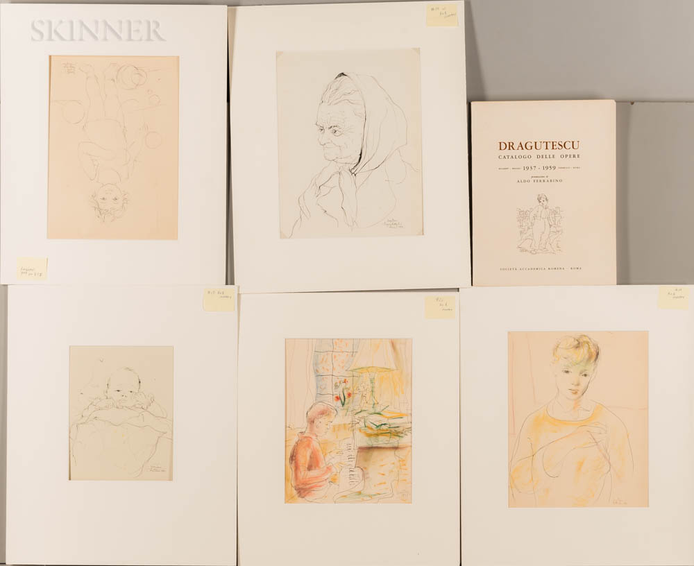 Eugen Dragutescu (Romanian, 1914-1992)      Five Matted Figural Drawings.   Baby