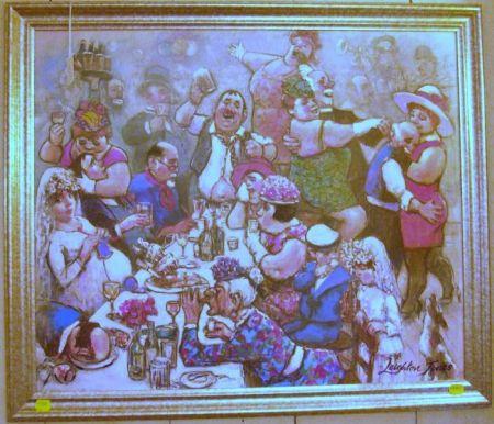 Framed Oil on Canvas of a Wedding Celebration
