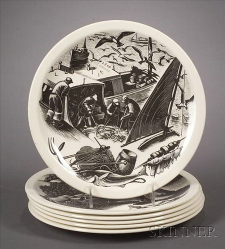 Six Wedgwood Claire Leighton Design Plates