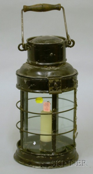 Large Black-painted Tin and Glass Lantern with Wire Guard.
