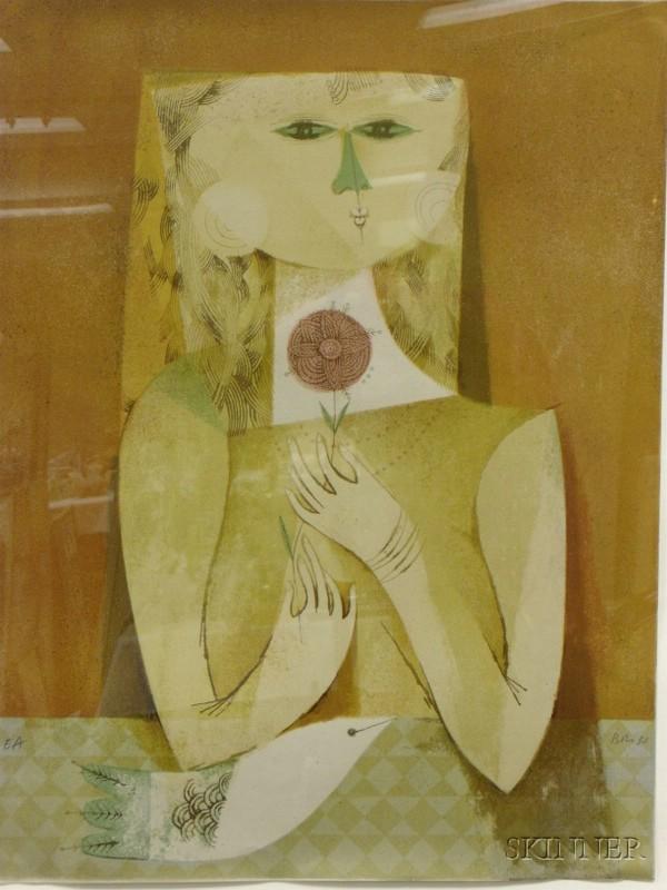 Framed Lithograph Girl Holding Flower   by Sami Briss      (French/Israeli, b. 1930)