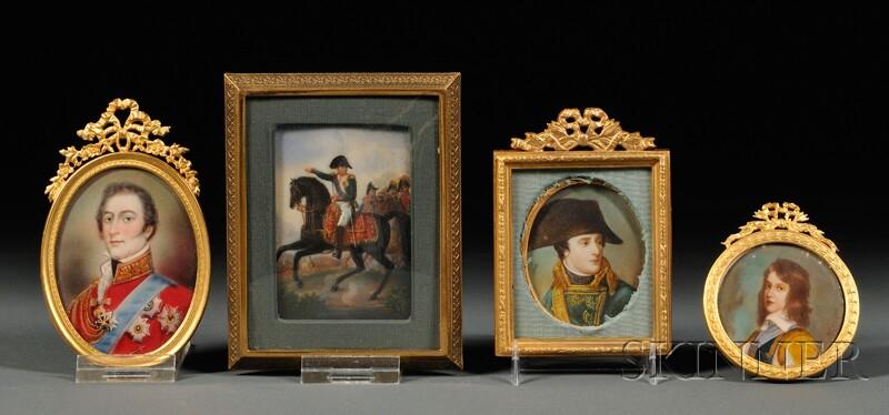 Four Portrait Miniatures of Gentlemen