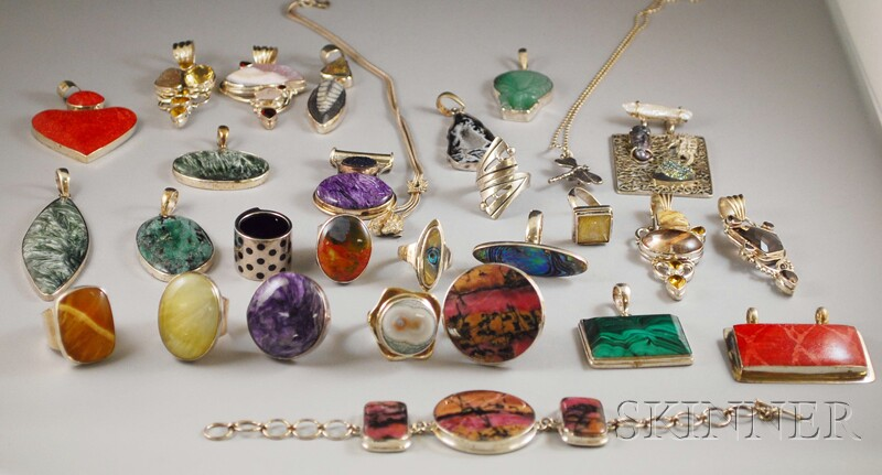 Group of Sterling Silver and Hardstone Jewelry