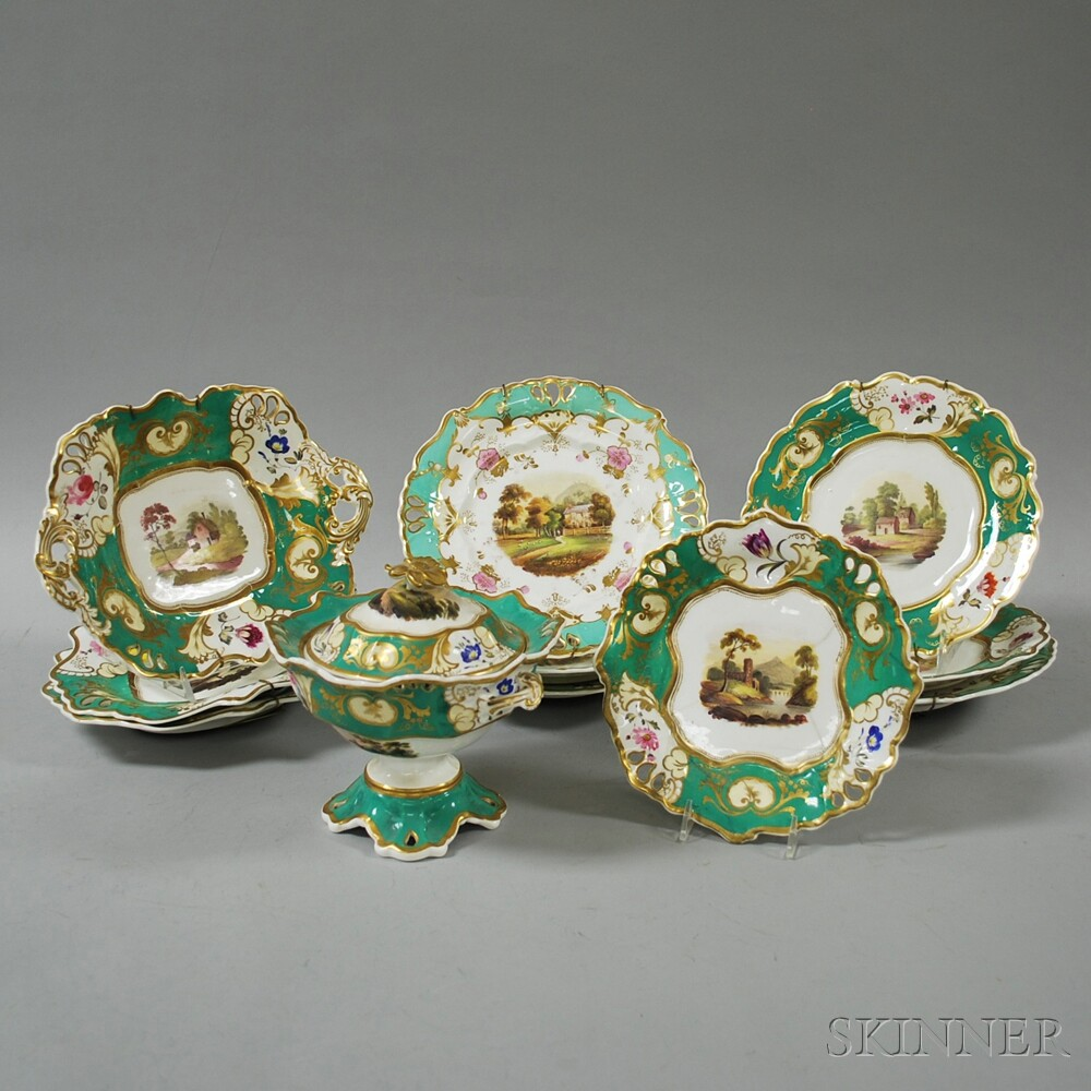 Eleven Pieces of Hand-painted French Porcelain