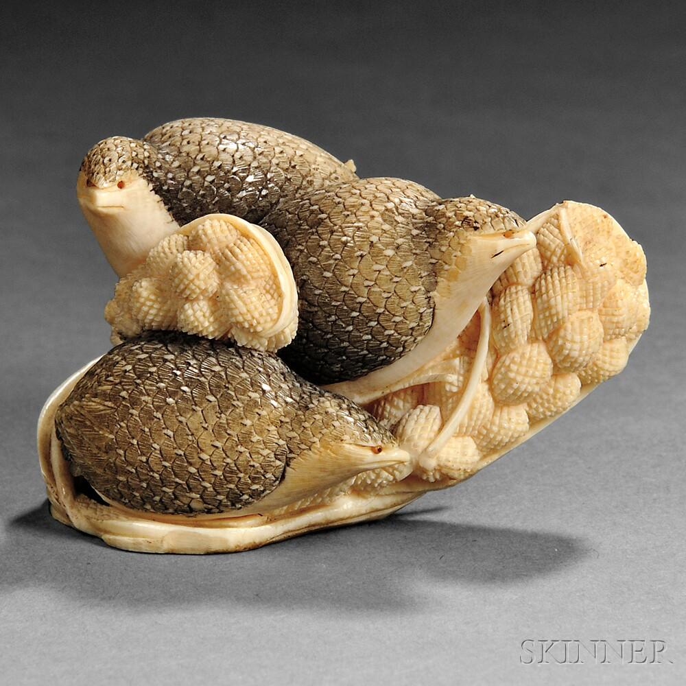 Ivory Okimono of Three Quails
