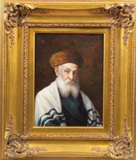 Framed Oil on Panel Portrait of a Jewish Scholar