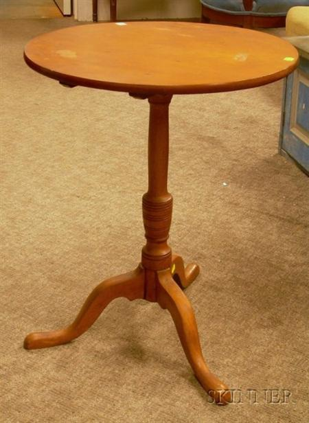 Country Pine and Maple Tilt-top Candlestand.
