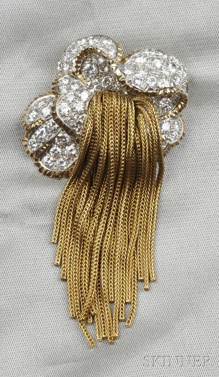 Platinum, 18kt Gold, and Diamond Brooch, France