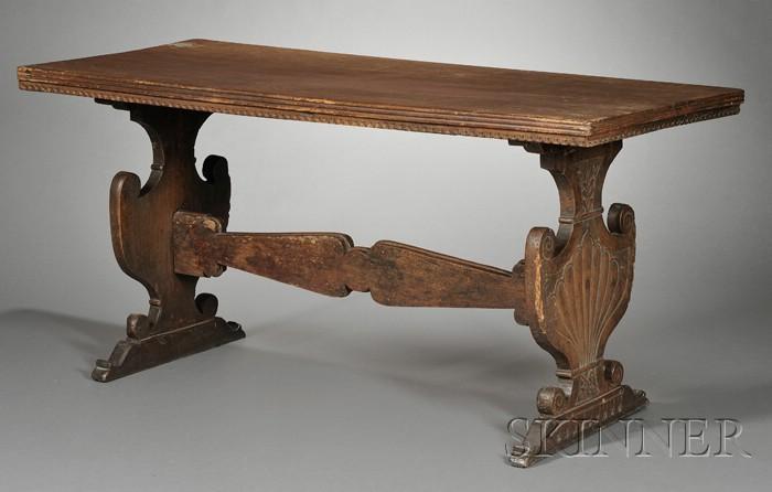 Italian Renaissance Walnut Trestle Table