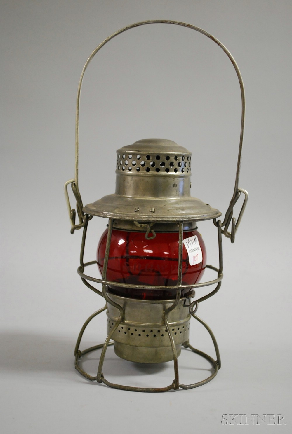 Adams & Westlake Co. Kerosene Railroad Lantern with Red Etched D. & R.G.W.R.R. Glass   Globe