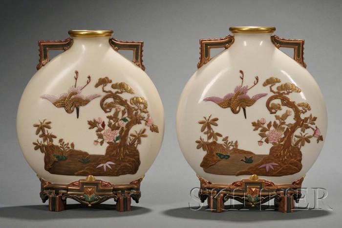 Pair of Royal Worcester Porcelain Moon Flasks