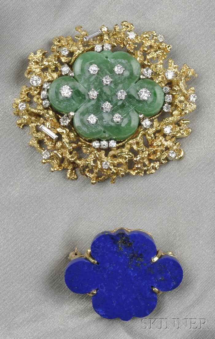 Two Gold Gem-set Brooches