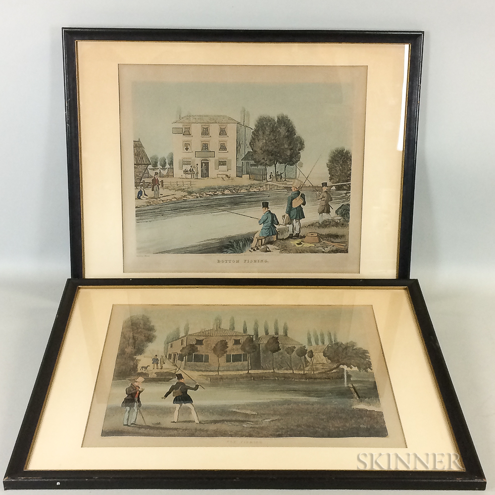 After James Pollard (British, 1792-1867)    Two Framed Prints: Fly Fishing