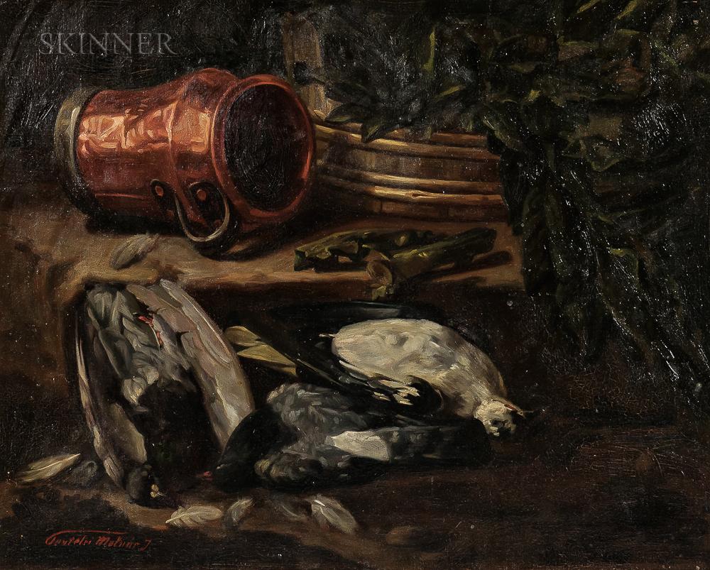János Pentelei-Molnár (Hungarian, 1878-1924)      Still Life with Copper Pot and Gamebirds