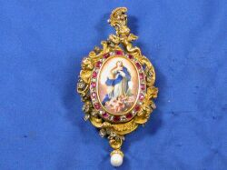 Antique 18kt Gold, Diamond, Ruby, and Enamel Brooch/Pendant