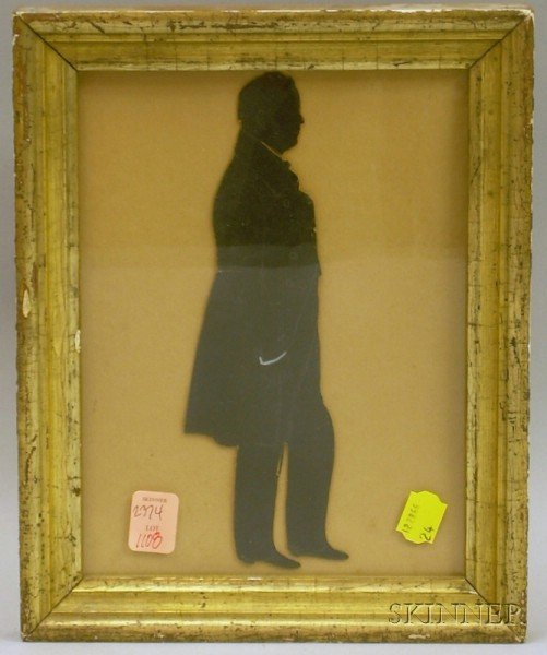 Giltwood Framed Pencil-detailed Cut-paper Silhouette of a Gentleman.