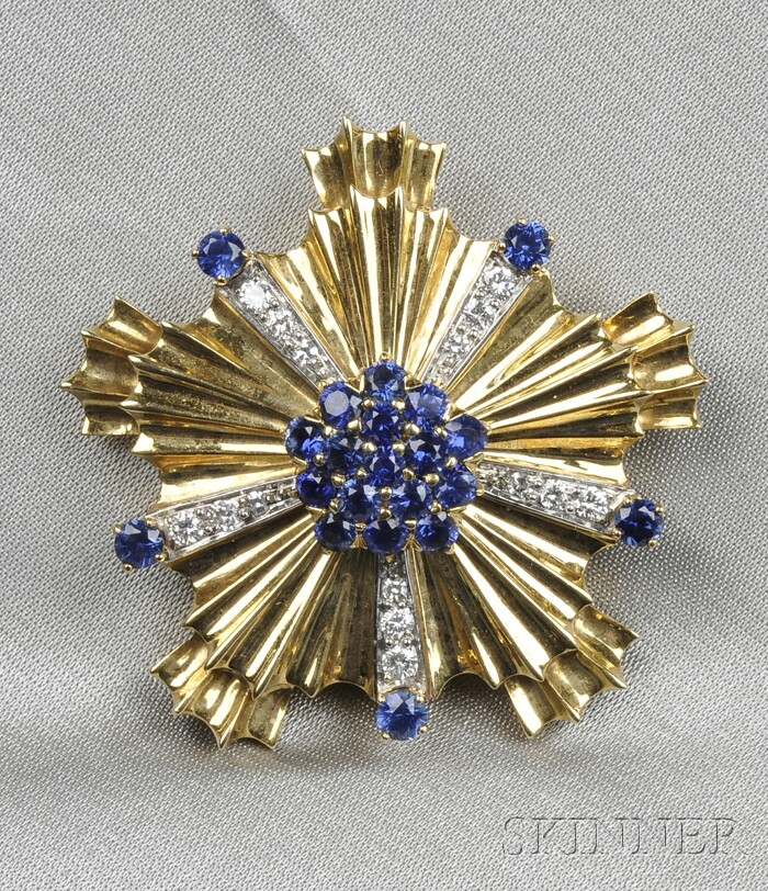 18kt Gold, Sapphire, and Diamond Brooch, Tiffany & Co.
