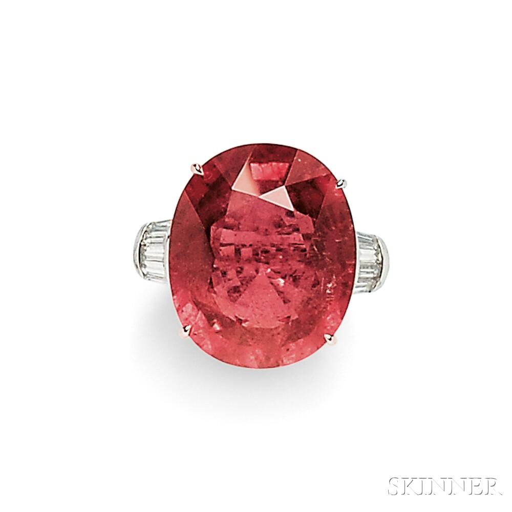 18kt White Gold, Pink Tourmaline, and Diamond Ring