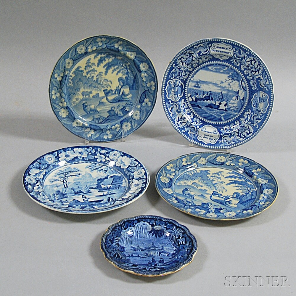 Five Blue and White Transfer-decorated Plates
