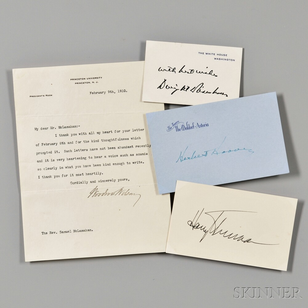 Presidential Signed Material: Wilson, Hoover, Truman, and Eisenhower.