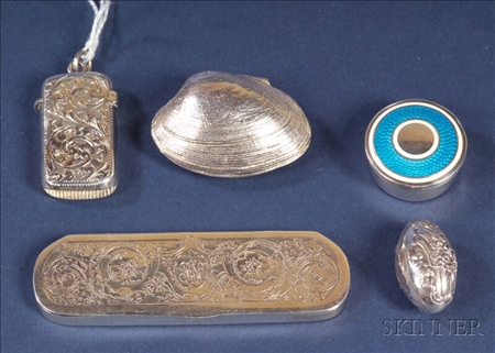 Five Miniature Silver Boxes