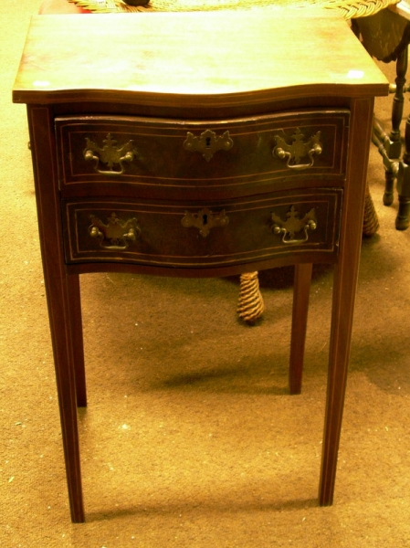 Federal-style Inlaid Mahogany and Mahogany Veneer Two-Drawer Side Table.