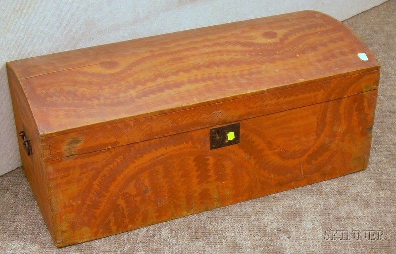 Grain-painted Dome-top Trunk.