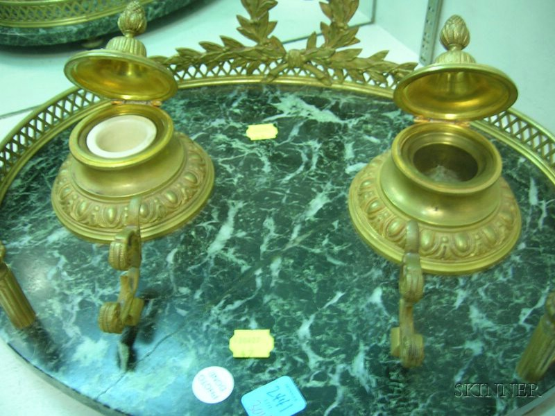 Louis XVI Style Brass-mounted Marble Double Inkstand.      Estimate $300-400