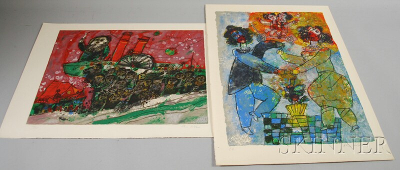 Theo Tobiasse (French, b. 1927)      Two Color Lithographs:   Exodus