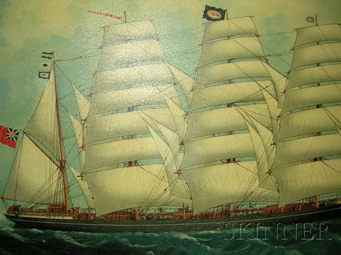 Attributed to Lai Fong (Indian/Chinese, active c. 1887-1910)      Portrait of the British Barque Marlborough Hill  .