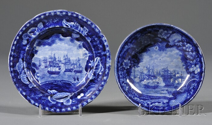 Historic Blue Transfer-decorated Staffordshire Pottery Saucer and Plate