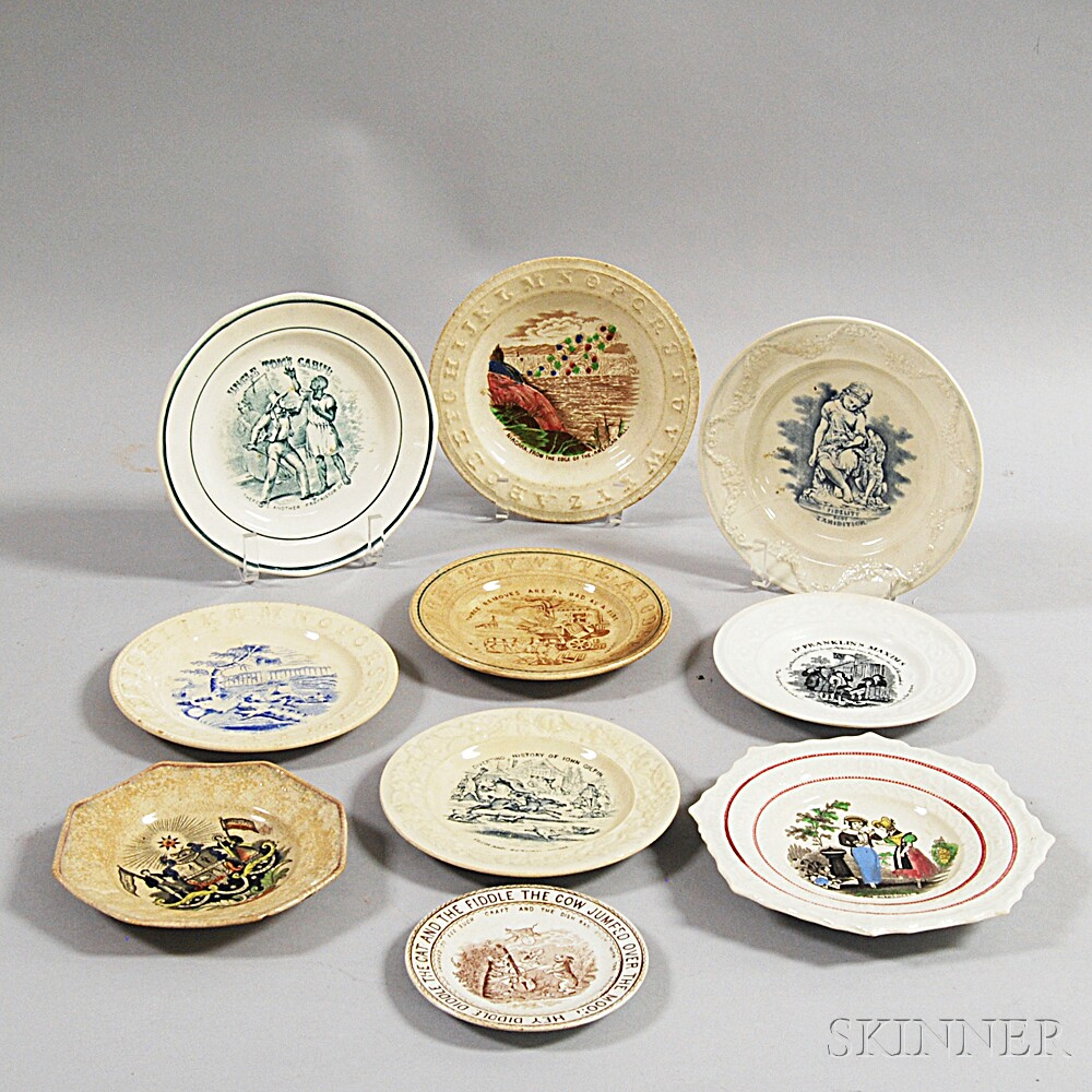 Ten Staffordshire Transfer-printed Dishes