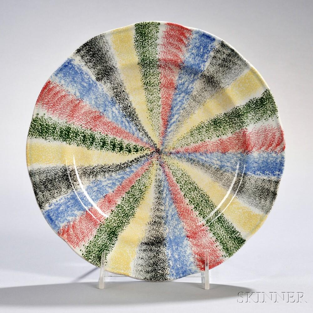 Five-color Spatterware Plate