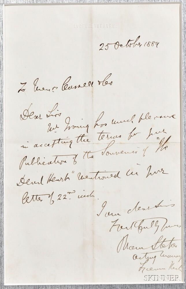 Stoker, Bram (1847-1912) Autograph Letter Signed, 20 October 1889.